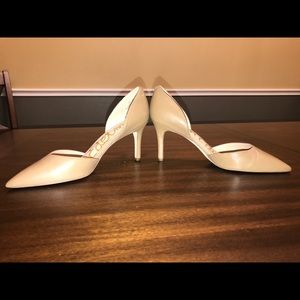 Nude color leather heels